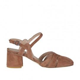 Chanel para mujer con cinturon en gamuza marron tierra tacon 5 - Tallas disponibles:  32, 43, 44