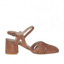 Woman's slingback pump with strap in earth brown suede heel 5 - Available sizes: 32, 33, 34, 42, 43, 44, 45