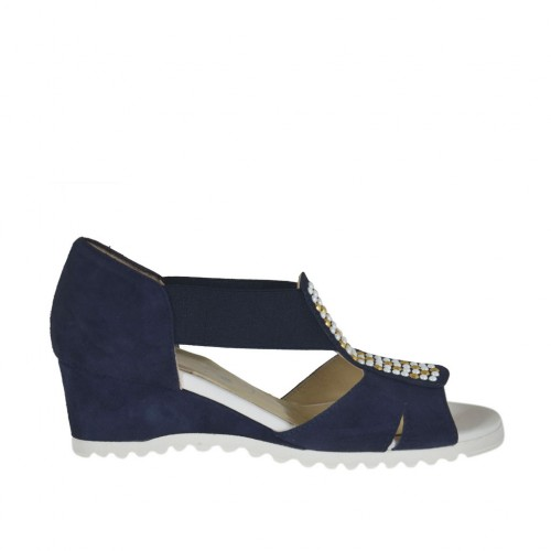 Woman's open shoe with elastic bands and studs in blue suede wedge 4 - Available sizes:  43, 45