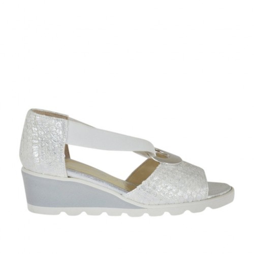 Woman's open shoe with elastic band and metallic ring in white laminated printed leather wedge 4 - Available sizes:  33, 34, 42, 43, 44