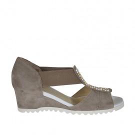 Chaussure ouvert pour femmes avec elastiques et goujons en daim gris tourterelle talon compensé 4 - Pointures disponibles:  33, 42, 43, 44, 45