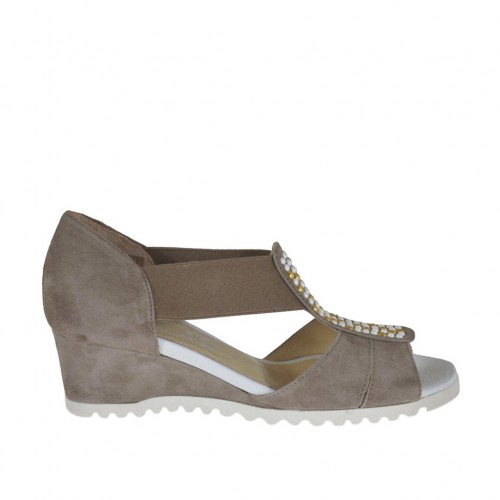 Woman's open strap shoe with elastics and studs in dove grey suede wedge heel 4 - Available sizes:  33, 42, 43, 44, 45