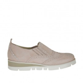 Chaussure fermée pour femmes avec elastiques et strass en daim rose talon compensé 3 - Pointures disponibles:  32, 33, 42, 43, 44, 45