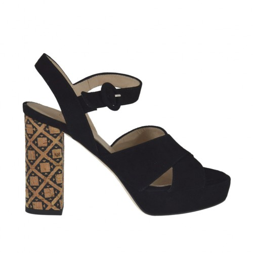 Woman'sandal in black suede with strap, platform and heel 9 in printed cork - Available sizes:  31