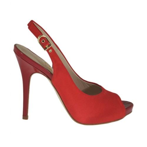 Sandale pour femmes avec plateforme en tissu rouge talon 10 - Pointures disponibles:  31, 32, 33, 42, 45