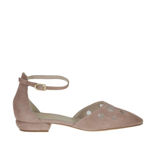 Woman's open shoe with net and strap in rose suede heel 1 - Available sizes:  43, 44, 46