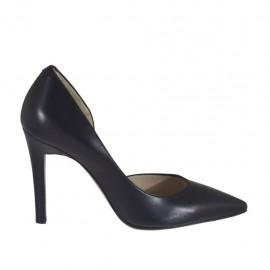 Zapato de salon para mujer con corte lateral en piel negra tacon 9 - Tallas disponibles:  31, 43, 46