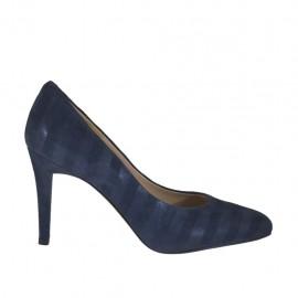 Zapato de salon para mujer en gamuza imprimida azul tacon 8 - Tallas disponibles:  31, 32, 34, 42, 43, 44, 46