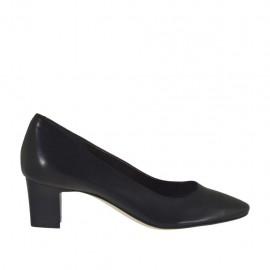 Damenpump aus schwarzem Leder Absatz 5 - Verfügbare Größen:  31, 32, 34, 43, 45, 46