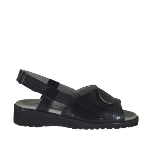 Woman's sandal with velcro straps in black patent leather wedge heel 3 - Available sizes:  33, 44
