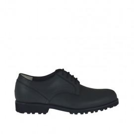 Freizeitschuh für Herren mit Schnürsenkeln aus schwarzem Leder - Verfügbare Größen:  37, 38, 46, 47, 48, 49, 50