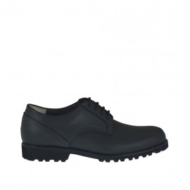 Men's shoe with laces in black leather - Available sizes:  37, 38, 47, 49