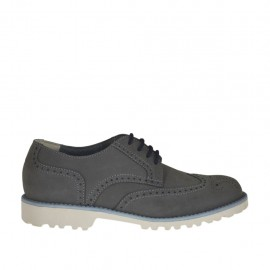 Men's casual laced shoe in grey nubuck leather - Available sizes:  37, 38, 46, 47