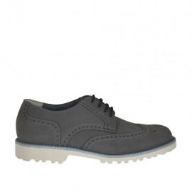 Zapato de sport con cordones y decoraciones Brogue para hombre en piel nubuk gris - Tallas disponibles:  37, 46, 47