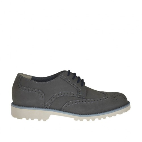 Men's casual laced shoe with Brogue decorations in grey nubuck leather - Available sizes:  37, 46