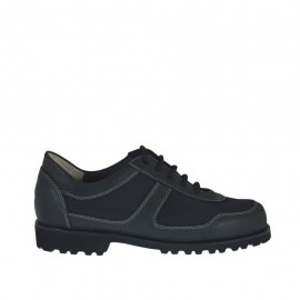 Men's casual laced shoe in black leather and fabric - Available sizes:  37, 38, 46, 50