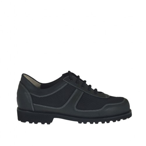 Men's casual laced shoe in black leather and fabric - Available sizes:  38