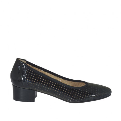 Woman's pump in black pierced patent leather heel 3 - Available sizes:  32, 42, 43, 44