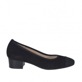 Woman's pump with black strass in black suede heel 3 - Available sizes:  33