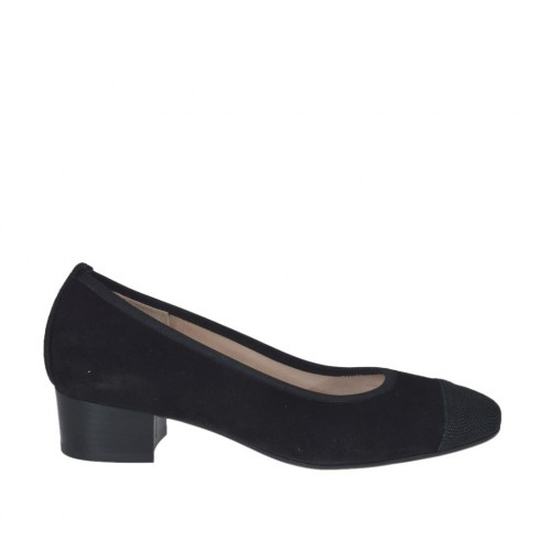 Woman's pump with black strass in black suede heel 3 - Available sizes:  33, 34, 43, 44, 45