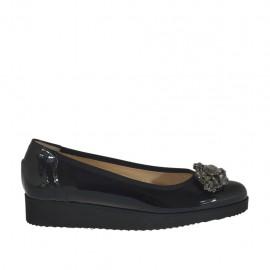 Zapato de salon con piedras para mujer en charol negro cuña 3 - Tallas disponibles:  32, 33