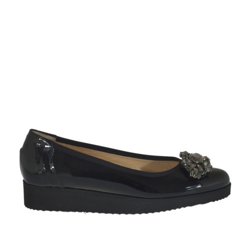 Woman's pump with rhinestones in black patent leather wedge heel 3 - Available sizes:  32, 33, 34, 42, 43, 44, 45