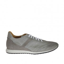 Men's laced casual shoe in grey suede and leather - Available sizes:  46, 47, 48, 50
