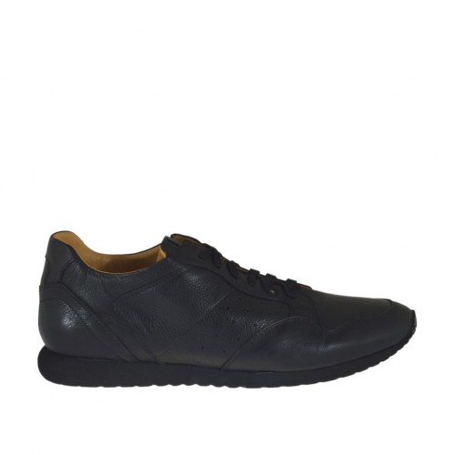 Men's casual laced shoe in black leather and pierced leather - Available sizes:  47, 51