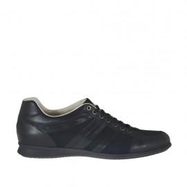 Chaussure sportif à lacets pour hommes en cuir et tissu noir - Pointures disponibles:  47