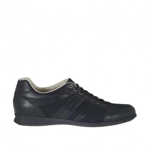 Men's laced casual shoe in black leather and fabric - Available sizes:  47