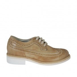 Men's casual laced derby shoe with brogue decorations in taupe leather - Available sizes:  38, 47, 48, 49, 50