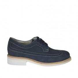 Chaussure derby sportif à lacets avec bout brogue pour hommes en cuir nubuck bleu - Pointures disponibles:  37, 38, 47