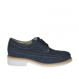 Men's casual laced derby shoe with brogue wingtip in blue nubuck leather - Available sizes:  37, 38, 47
