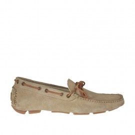 Men's carshoe with bow in beige suede - Available sizes:  38, 47, 48, 50