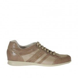 Men's laced casual shoe in taupe leather and fabric - Available sizes:  47, 49
