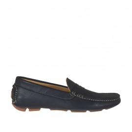 Man's casual mocassin in black leather - Available sizes:  36, 47, 48, 50