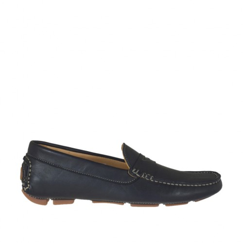 Man's casual mocassin in black leather - Available sizes:  36, 38, 47, 48, 50