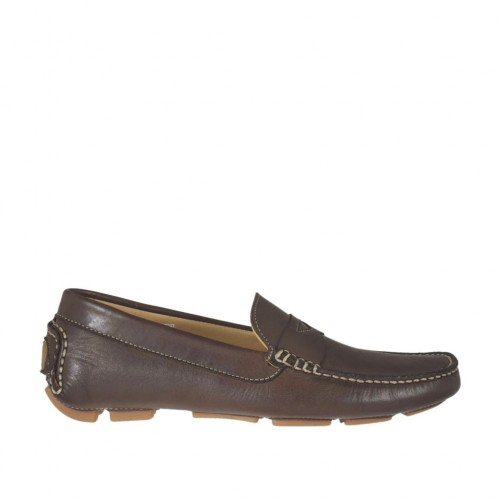 Man's car shoe in brown leather - Available sizes:  36, 47, 52