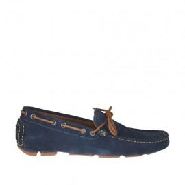 Herrenfreizeitmokassin mit Schleife aus blauem Wildleder - Verfügbare Größen:  37, 47, 50