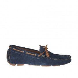 Men's carshoe with bow in blue suede - Available sizes:  37, 47, 50