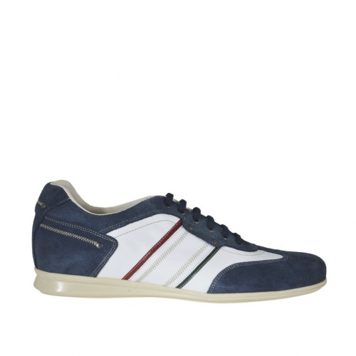 Men's laced casual shoe in blue suede and white, red and green leather - Available sizes:  47, 48