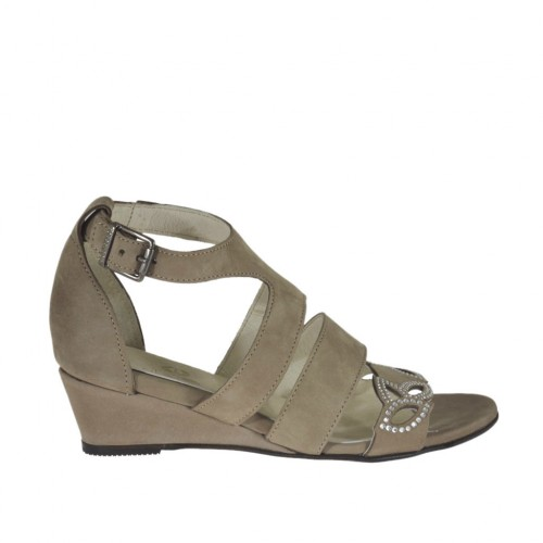 Woman's open strap shoe with rhinestones in taupe nubuck leather wedge heel 3 - Available sizes:  42, 43, 44, 45