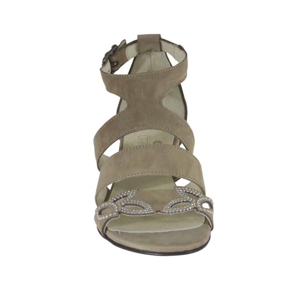 1e4b69d737c8d ... Woman s open strap shoe with rhinestones in taupe nubuck leather wedge  heel 3 - Available sizes ...