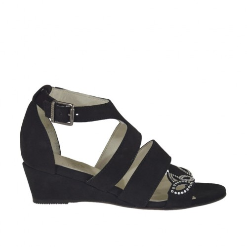 Woman's open strap shoe with rhinestones in black nubuck leather wedge heel 3 - Available sizes:  33, 34, 42, 43, 44, 45, 46