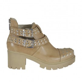 Woman's ankle boot with zipper, buckles and studs in beige leather heel 6 - Available sizes:  42, 44