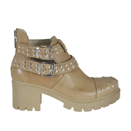 Woman's ankle boot with zipper, buckles and studs in beige leather heel 6 - Available sizes:  33, 34, 42, 44