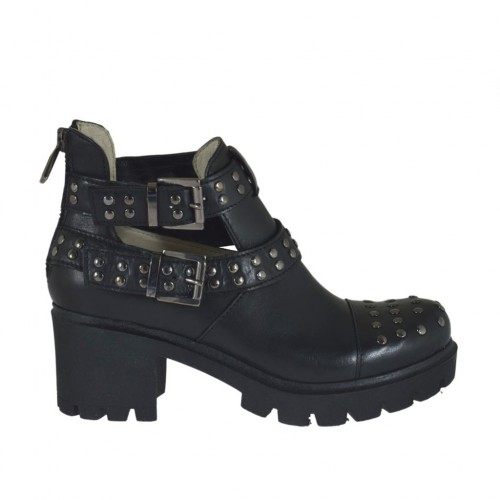 Woman's ankle boot with zipper, buckles and studs in black leather heel 6 - Available sizes:  32, 33, 34