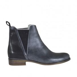 Bottines pour femmes avec elastiques en cuir brossé imprimé noir et cuir perlé plombé talon 2 - Pointures disponibles:  45