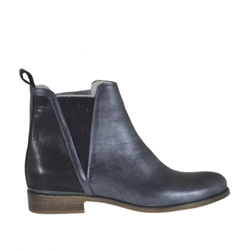 Woman's ankle boot with elastic bands in black printed brush-off leather and pearled lead grey leather heel 2 - Available sizes:  45