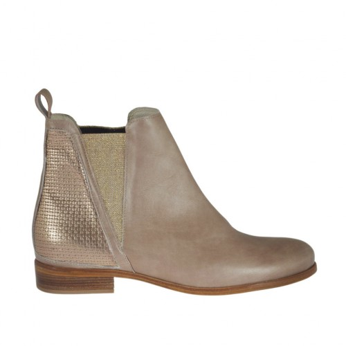 Woman's ankle boot with elastic bands in platinum printed brush-off leather and pearled beige leather heel 2 - Available sizes:  42, 43